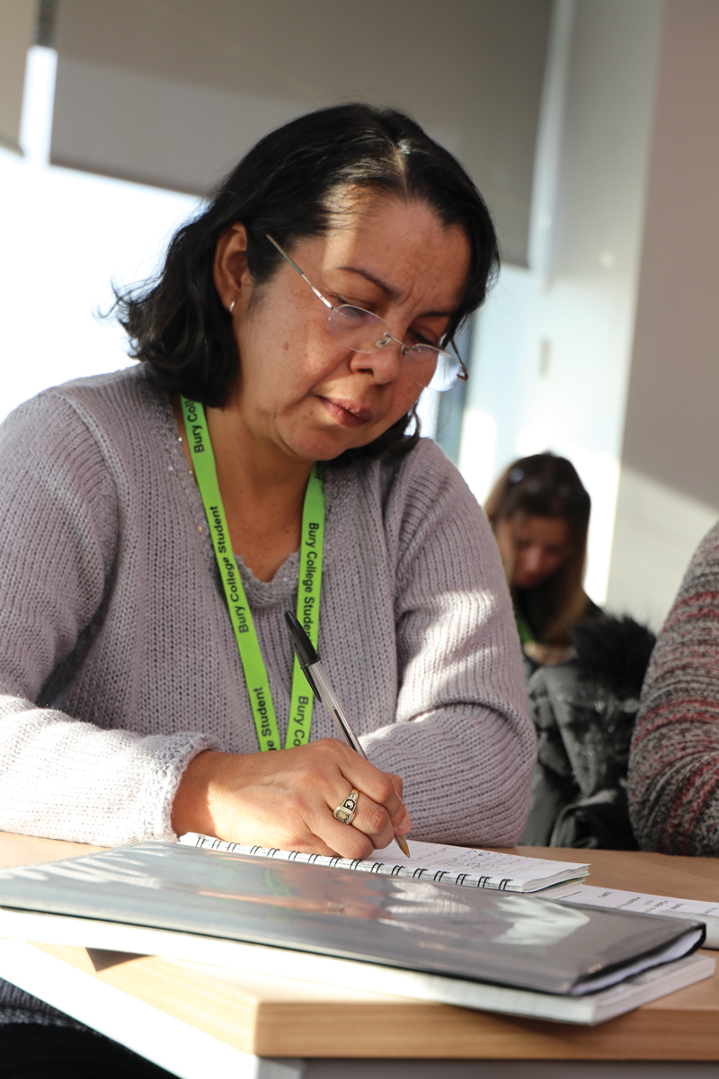 Learner studying at Bury College