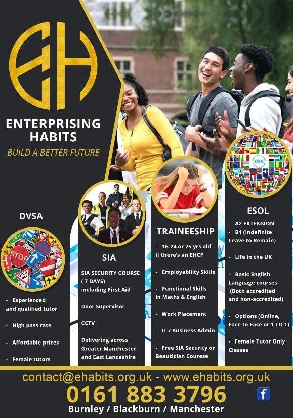 Flyer showing details of courses at Enterprising Habits
