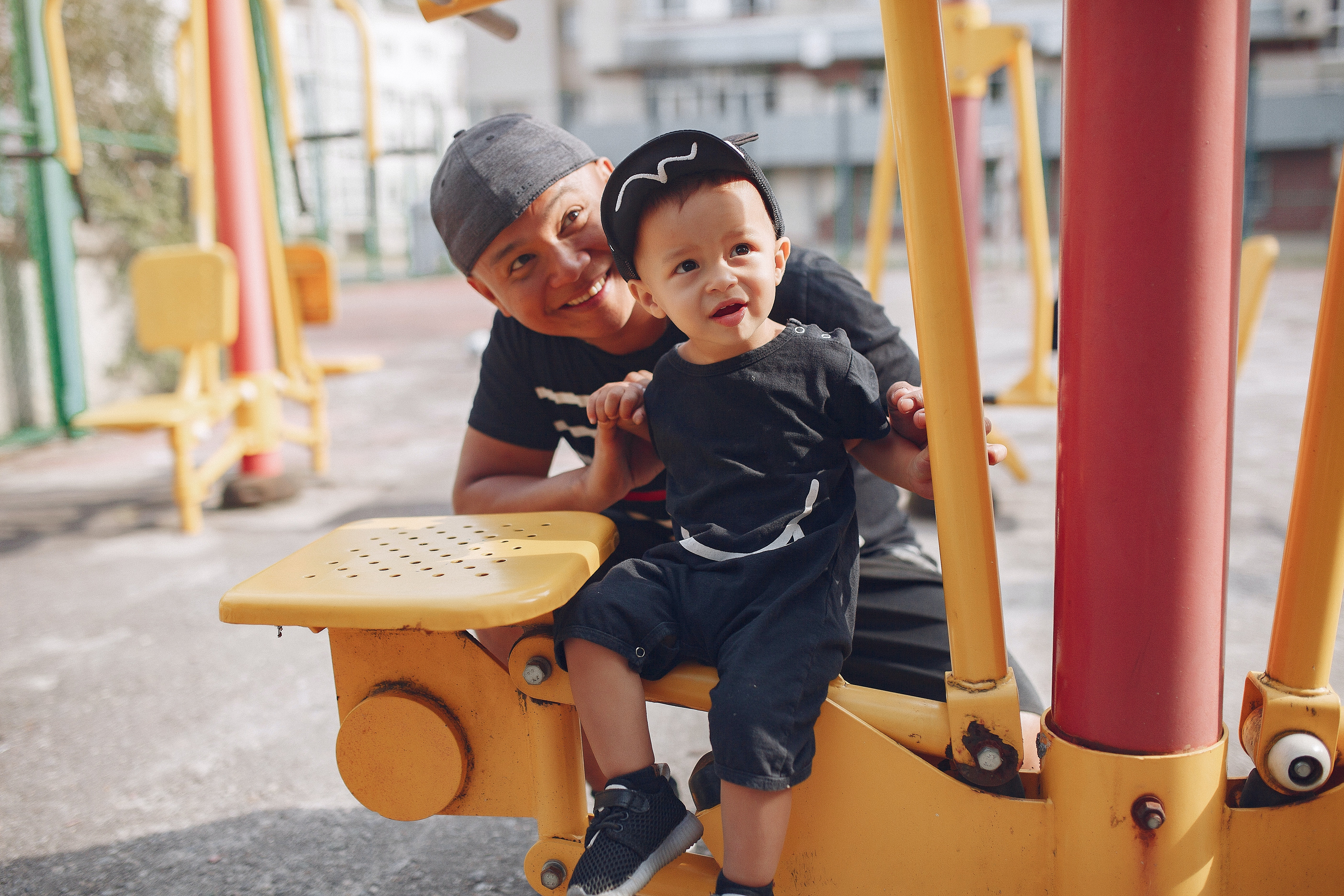 Father and son at a playground